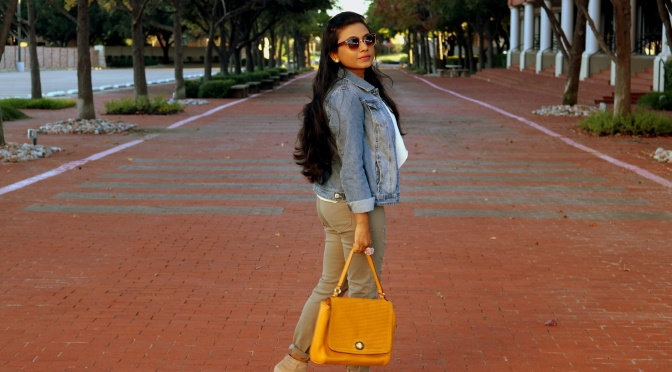 Denim & Olive Affair with a hint of Mustard- Hello Fall!